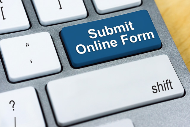 picture of a keyboard with 'submit online form' button